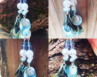 Blue Glow in the Dark Shell Earrings