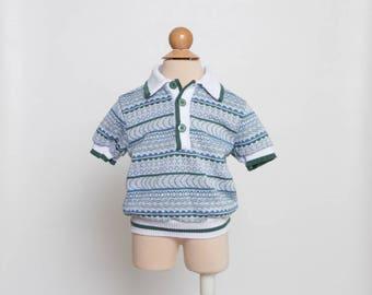 vintage 80s toddler boy polo shirt Bull Frog knits