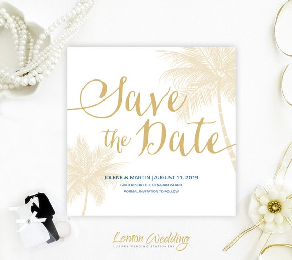 Beach Theme Save The Dates Printed Gold And Royal Blue