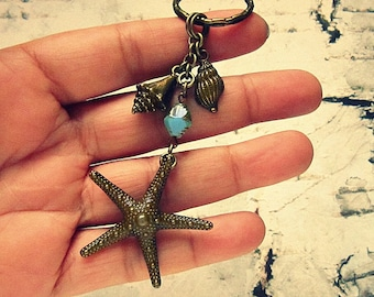 Sea Star Keychain, Starfish Keychain, Starfish Accessories, Starfish Gifts, Starfish Jewelry, Sea Star Accessories, Keychains For Women