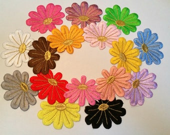 1 x badge embroidered - flower - choice of colors