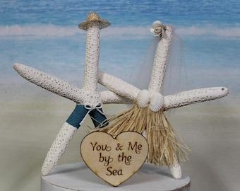 Starfish Beach Wedding Cake Topper, Bride-Groom-Destination-Unique-Funny