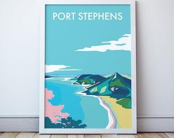 Port Stephens Vintage Style Seaside Travel Print