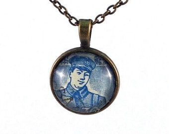 1949 Postman - Japanese Stamp - necklace Postage Stamp Jewelry - Vintage Postage Stamp Necklace - Antique Bronze Finish