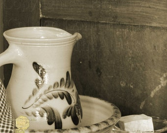 Old Fashioned Americana Photograph, Vintage Vanity Set with Lye Soap and Antique Stoneware Water Pitcher in Sepia Tone, Fine Art Photography