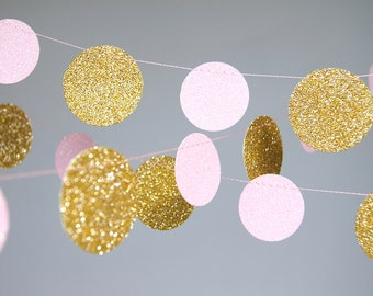 Pink and Gold Birthday, Garland, Gold and Pink, Gold  Blush, Bridal Shower, Baby Shower, Birthday Decor, Pink Gold Birthday, Pink Gold Party