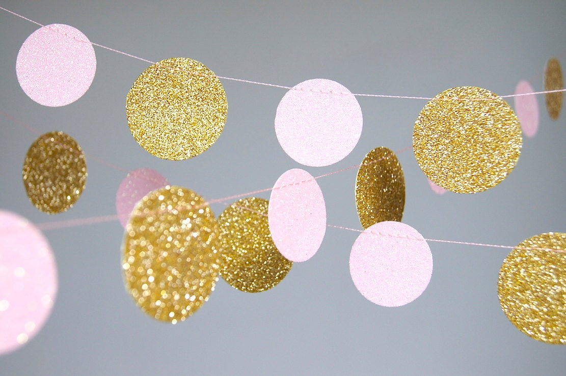 Pink and Gold Birthday Garland Gold and Pink Gold Blush