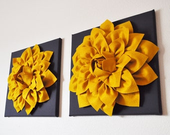 """TWO Flower Wall Art Hangings -Mustard Dahlia on Charcoal 12 x12"""" Canvas Wall Art- 3D Home Decor"""