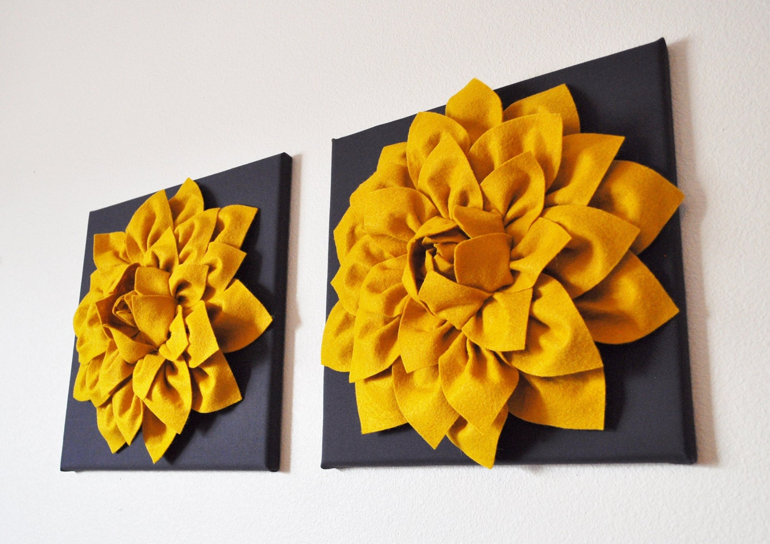 TWO Flower Wall Art Hangings Mustard Dahlia on Charcoal 12