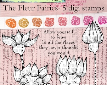 The Fleur Fairies -- 5 digi stamp set in png and jpg files for instant download