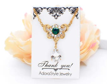 Vintage style necklace, Gold crystal necklace, emerald green necklace, green bridal jewelry, rhinestone bridesmaid necklace, maid of honor