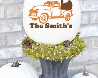 Personalized Fall Turkey Old Truck Vinyl Decal Sticker