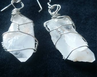 Unique Crystal Quartz Earrings , Natural Quartz crystals in Silver Wire