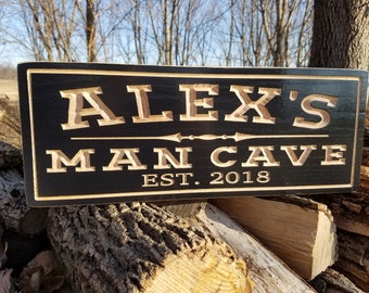 Personalized Man Cave Signs Etsy : Wooden man cave sign etsy