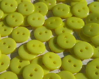 "Yellow Buttons - Little Sewing Buttons - 7/16"" Wide - 100 Buttons"