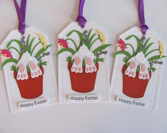 Easter Bunny Gift Tags, Easter Favor Tags, Flower Pot Easter Bunny Tags, Easter Bunny Tags, Easter Bunny Favors Tags, Set of 3