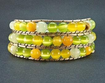 Summer wrap bracelet Women healing stone Bright gemstone jewelry Women beaded bracelet Yellow green gemstone Cat eye stone beads Her gift