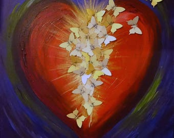 Original Heart Painting - 'From Darkness Came Light' Mixed Media Artwork