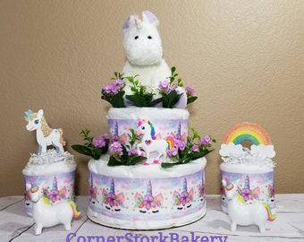 Unicorn Diaper Cake| Unicorn Baby Shower Centerpieces| Unicorn Baby Shower Gift| Girl Diaper Cake| Unicorn Baby Shower| Baby Girl Gift| Baby