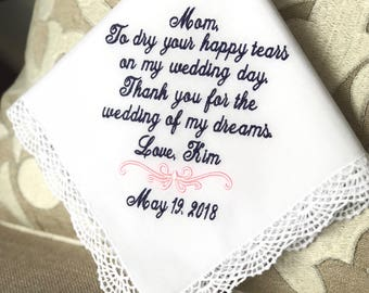Mother of The Bride -  Handkerchief -To Dry HAPPY your tears- WEDDING of my DREAMS - wedding Gift for Mom - bride handkerchief gifts
