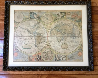Framed world map etsy vintage world continent mapsset of 4 mounted framed gumiabroncs Choice Image