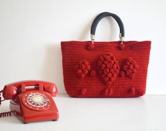 Chunky red  tote bag ,  Knit shoulder  Bag,  Handmade Winter  bag  ,knit boho bag , knitted handbags , gerard darel bag , Gifts for mom