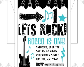 Rockstar Birthday Invitation, Rocker Birthday, Rocker Party, First Birthday Invite, Musical Party Invite, Guitar Invite, Modern Rockstar