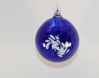 Hand Blown Glass Ornament - Cobalt Blue with Design