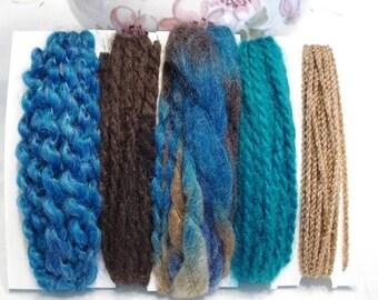 Specialty yarn art fiber embellishment bundle, Earth colors