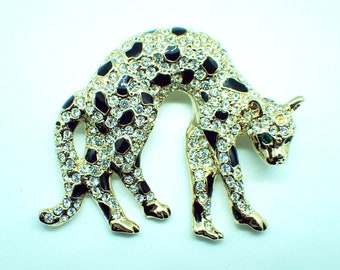 Black Enamel and Diamantes Gold tone Leopard Brooch