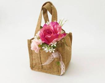 Rustic hessian flowergirl basket