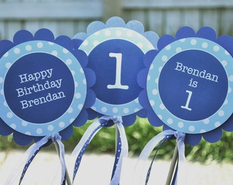 Centerpiece Sticks Boys Birthday Party - Dark Blue and Light Blue Polkadot - Birthday Party Decorations - Set of 3