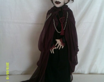 Aubergine ,an original OOAK art doll,free standing stump doll