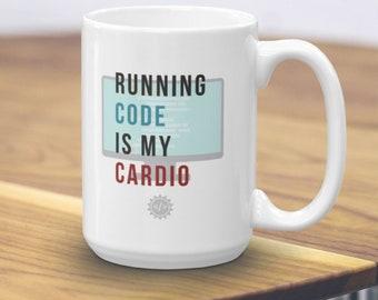 Running Code is my Cardio Mug - Computer Science Mug - Programmer Gift - Professor Gift - Data Nerd - Scientist Gift - Software Engineer Mug