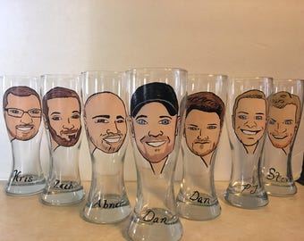 Personalized Caricature Groomsmen Beer Glasses