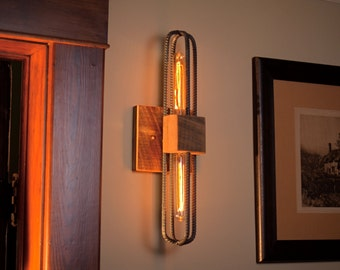 Rebar and Barn Wood Sconce/Vanity Light Fixture in Clear Finish. Free Shipping!!!