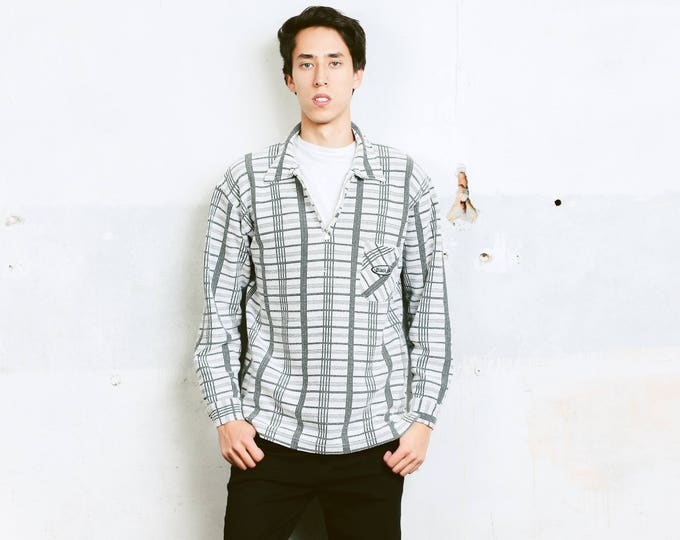 Men's 1 4 Zip Shirt . Vintage Jacket Shirt Mens 90s Sweatshirt Thick Shirt Minimalist 90s Clothing Long Sleeve Plaid Shirt . size Large L
