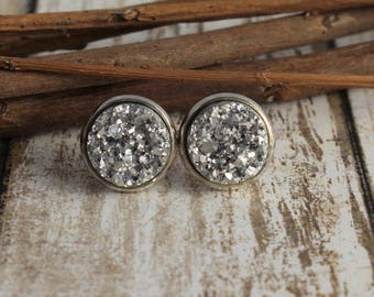 Silver Druzy Earrings - Silver Stud Earrings - Faux Druzy Earrings - Drusy - 12mm Stud Earrings - Bridesmaid Gift - Bridesmaid Jewelry - 8mm