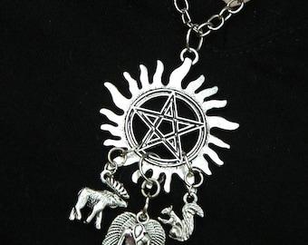 "Moose Squirrel Anti-Possession Symbol Necklace Castiel Wings Silver Large Pendant 20"" Chain"