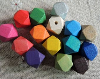 Wood beads 12 mm with 7 different colors