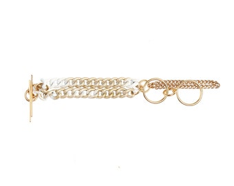 Multi-Strand Golden Chain Bracelet - Elegant Multi Chain Cuff - Circlets Cocktail Bracelet - Gold & White Shaded - ILLUSIONS