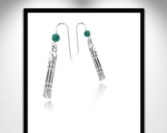 Atlantis earrings silver and stone _ earrings silver Atlante and pierre