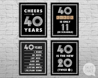 40th Birthday Sign Pack, 40th Birthday DIGITAL Posters, Cheers to 40 Years Sign, 40th Birthday Decorations, 40th Birthday Party Decor