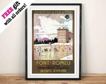 FONT ROMEU POSTER: Vintage French Travel Advert Art Print