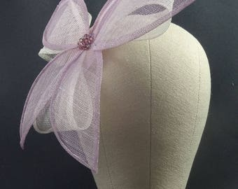 Pink fascinator, pink and white flower headpiece, wedding hat, dusky pink and white occasion hat, mother of the bride, custom orders welcome