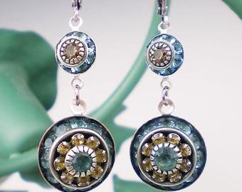 Aqua Brown Rhinestone Earrings Aqua Topaz Rhinestone Drop Earrings