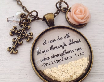 I can do all things through Christ who strengthens me/Philippians 4:13 necklace/bible verse necklace/scripture necklace/Christian jewelry