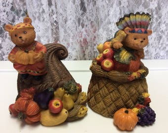 Thanksgiving Decorations, Bears, Indians, Fruit , Vegetables, Home Interior and Gift Inc , Figure boxes , Holidays, Fall Harvest