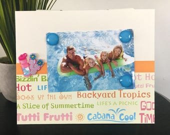 Soak Up The Sun V1 - Magnetic Picture Frame Handmade Gift Present Home Decor by Frame A Memory Size 9 x 11 Holds 5 x 7 Photo - Vacation Fun