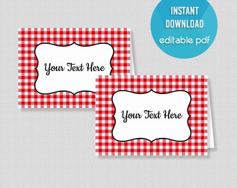 Food Tent Cards, Red Check Food Labels, BBQ, Picnic, Editable Place Cards, Buffet Signs, INSTANT PRINTABLE